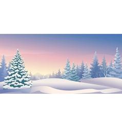 Winter sunrise panoramic vector image