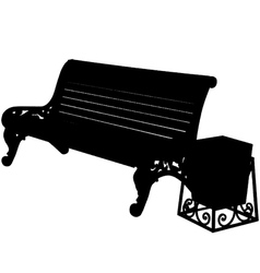 wooden bench with an urn isolated on white backgro vector image vector image
