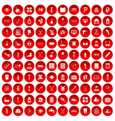 100 disabled healthcare icons set red vector image