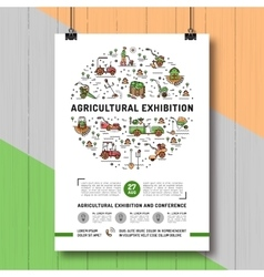 Agricultural exhibition design poster or card vector