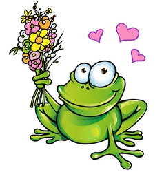 frog with bouquet vector image