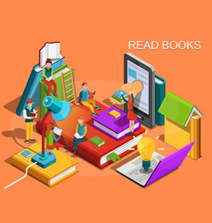 reading people isometric flat design vector image