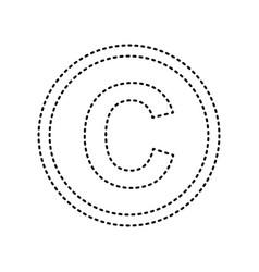 Copyright sign black dashed vector