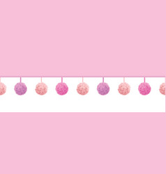 Baby girl pink decorative pompoms with vector