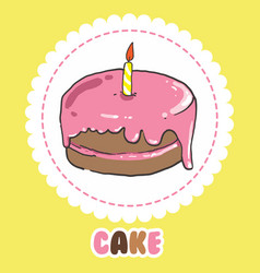 Pink birthday cake with candle cake icon vector