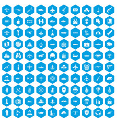 100 military resources icons set blue vector