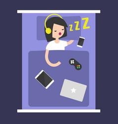 new technologies addiction young girl sleeping vector image