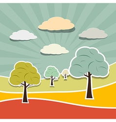 Retro rural paper landscape background with trees vector