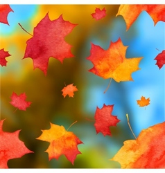 Autumn watercolor leaves on blurred background vector