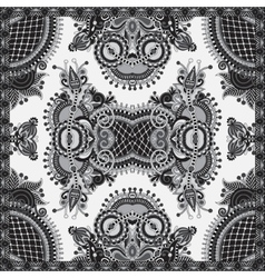 Grey ornamental floral paisley bandanna vector
