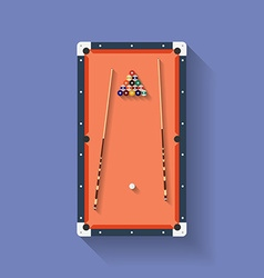 Icon of poll or billiard table with cues and balls vector
