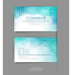 Template business card with blue geometric backgro vector