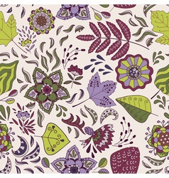 Cute seamless pattern with flowers and leaves vector