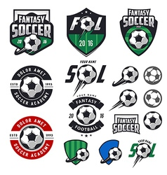 Set of soccer labels emblems and design elements vector