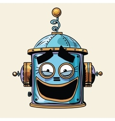 Emoticon funny laughing emoji robot head smiley vector