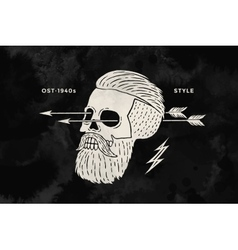 Poster of vintage skull hipster label for t-shirt vector