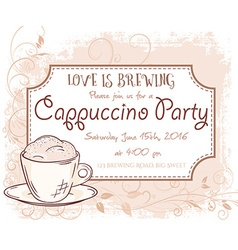 Hand drawn cappuccino party invitation card vector