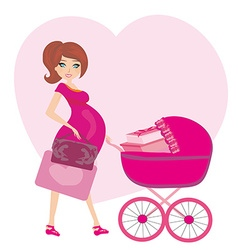 Pregnant woman with a pink baby carrier full of vector