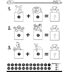 addition educational game coloring book vector image vector image
