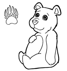 bear with paw print Coloring Pages vector image vector image