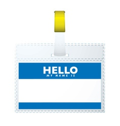 blue hellow my name is vector image vector image