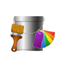 bucket paintbrush and paint palette vector image