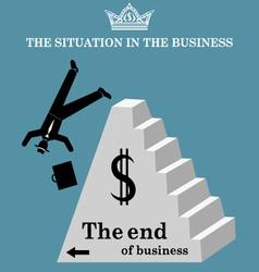 Businessman falls from pyramid vector