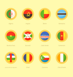 Circular flags of algeria angola benin vector