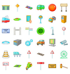 City navigation icons set cartoon style vector