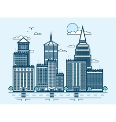 city street with skyscraper multistorey building vector image