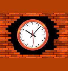 Clock in broken wall vector