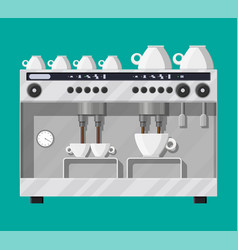 Coffee maker with cups vector
