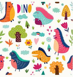 dinos pattern vector image
