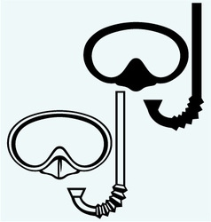 Diving goggles with snorkel vector