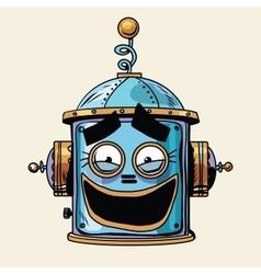 Emoticon funny laughing emoji robot head smiley vector