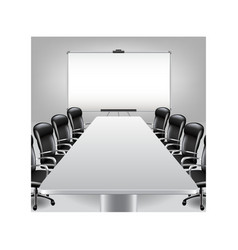Empty meeting room and presentation board vector