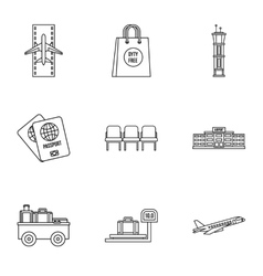 Flying on plane icons set outline style vector image