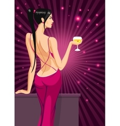 girl lady black hair standing back on the club vector image vector image