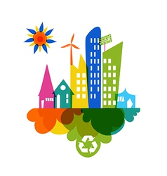 Go green colorful city recycle icon vector image vector image