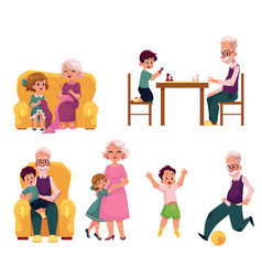 grandparent spending time with grandchildren vector image vector image