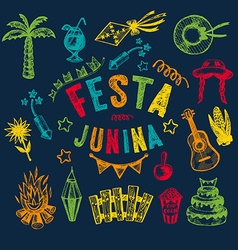Hand drawn elements of festa junina vector
