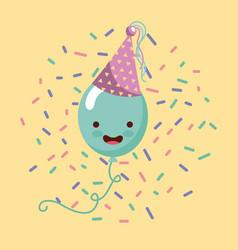 happy birthday kawaii ballons vector image