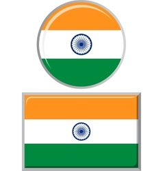 Indian round and square icon flag vector