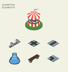 Isometric city set of garden decor turning road vector