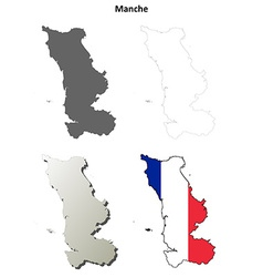 Manche lower normandy outline map set vector