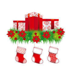 Ornament christmas flowers with box gifts and vector