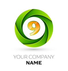 Realistic number nine logo in the colorful circle vector