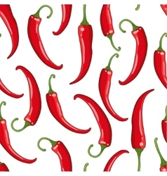 Seamless pattern white with chilli pepper vector