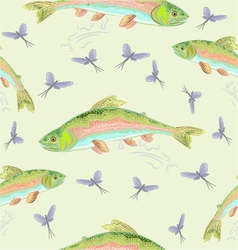 Seamless texture rainbow trout leaping vector