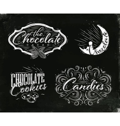 Set chocolate labels black vector image vector image